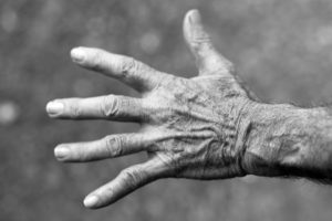 Elderly Womans Hand Spread